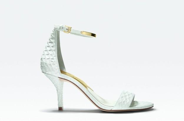 Sandalias blancas de tacón midi, modelo Kristen