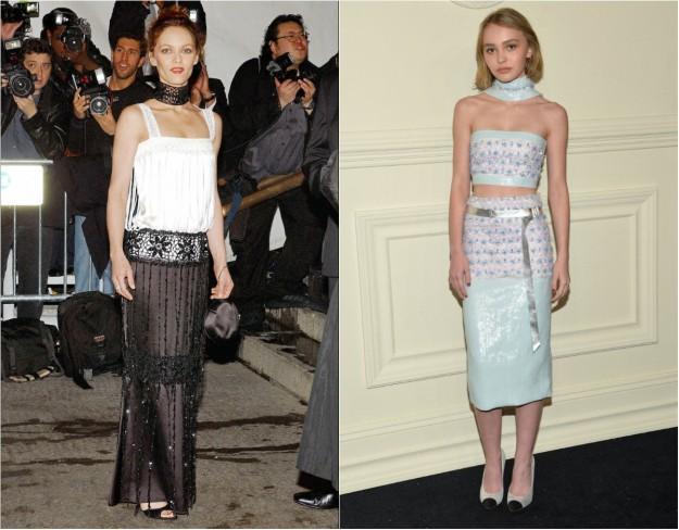 Vanessa Paradis, vestida de Chanel en los Oscars 2005, y Lily Rose Depp, diez años después, con un vestido de la Alta Costura primavera 2015 de la maison.