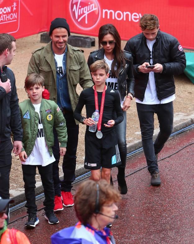 Familia Beckham en la mini maratón