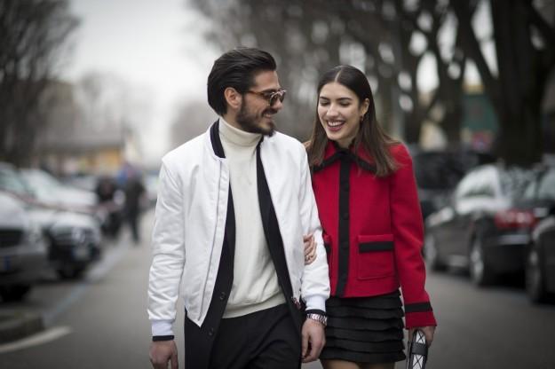 El pasado febrero, durante la Milan Fashion Week, con su novio, Giotto Calendoli.