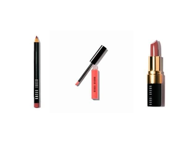 Lipliner, Lipgloss y barra de labios, de Bobbi Brown.