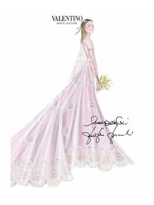 El boceto del vestido de novia de Beatrice, firmado por Valentino