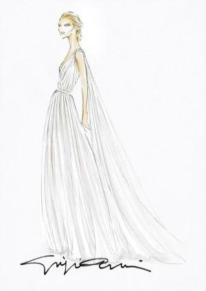 Boceto del vestido de novia de Beatrice Borromeo diseñado por Armani.