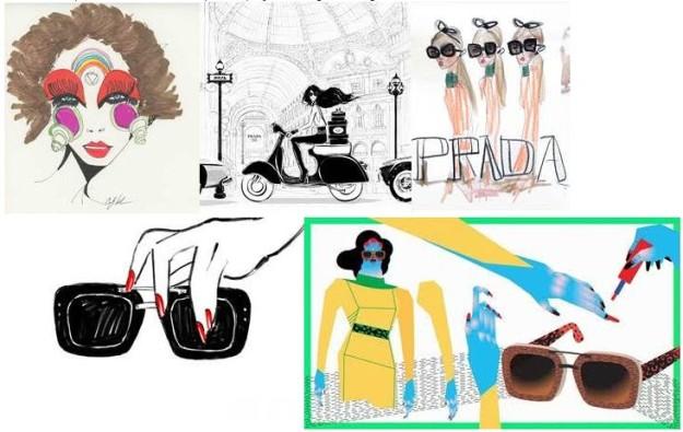 La colección de gafas de sol de Prada, a través de las creaciones de 6 ilustradores.