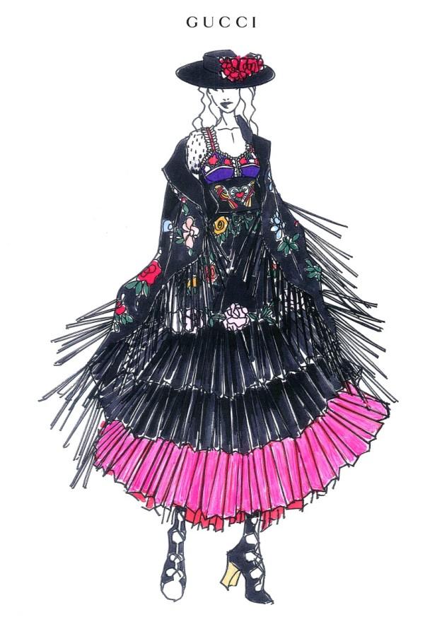 Uno de los bocetos de Alessandro Michele para Madonna.