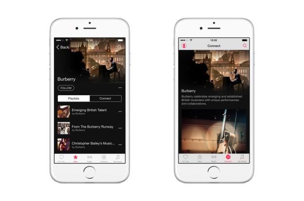 El canal de Burberry en la aplicación Apple Music.