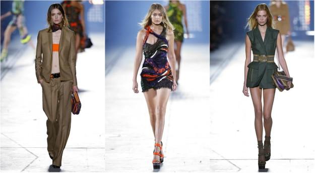 Gigi Hadid, en el centro, y dos modelos que también desfilaron para Versace. Fue tras esta aparición cuando empezó a recibir críticas.
