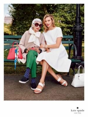 Iris Apfel junto a Karlie Kloss para Kate Spade New York.