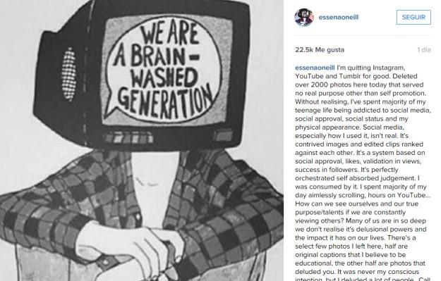 La última imagen publicada en la cuenta de Essena deja muy claras sus intenciones: las redes sociales no son la vida real.