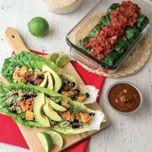 Tacos de lechuga con quinoa