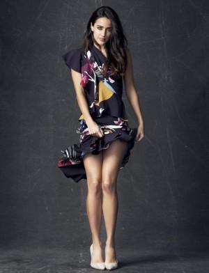 La actriz Macarena García vestida de su colección Hiroko para la primavera-verano 2016.