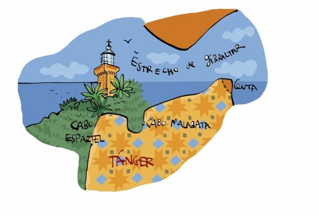 Mapa turístico de Tánger.