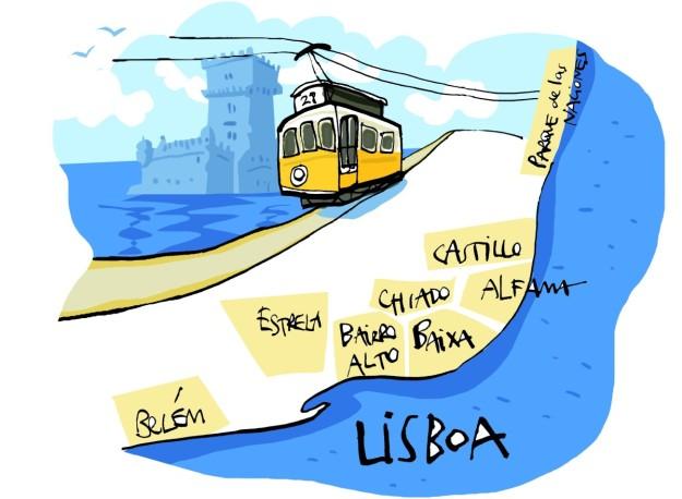 Mapa turístico de Lisboa.