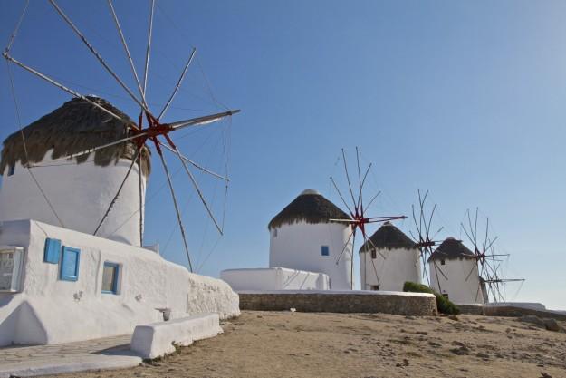 El molino es el símbolo de la ciudad de Mykonos.