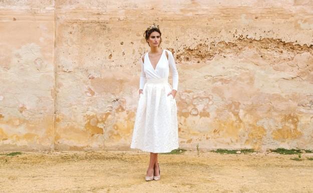 modelo con vestido de novia