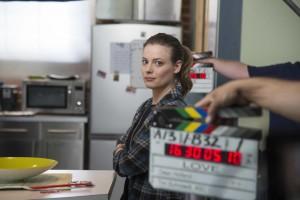 La actriz Gilliam Jacobs rodando para la serie de Nenflix, Love.