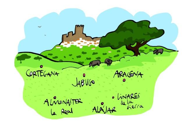 Mapa de nuestrio viaje por la Sierra de Aracena y Picos de Aroche (Huelva).