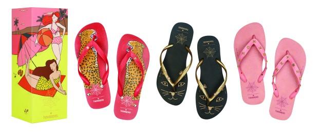 La colección de Charlotte Olympia para Havaianas se compone de tres modelos de flip flops y se entregan en una caja ilustrada.