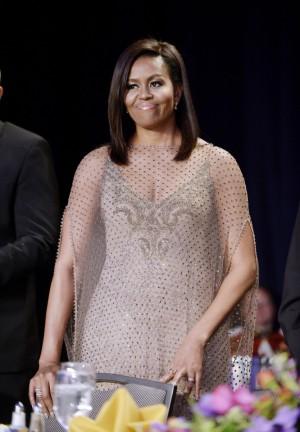 Michelle Obama eligió un Givenchy Couture para su última cena de corresponsales en la Casa Blanca.