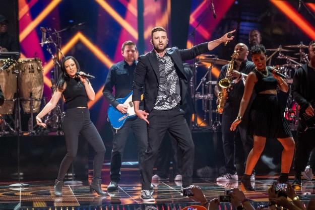 Justin Timberlake durante su actuación en Eurovisión.