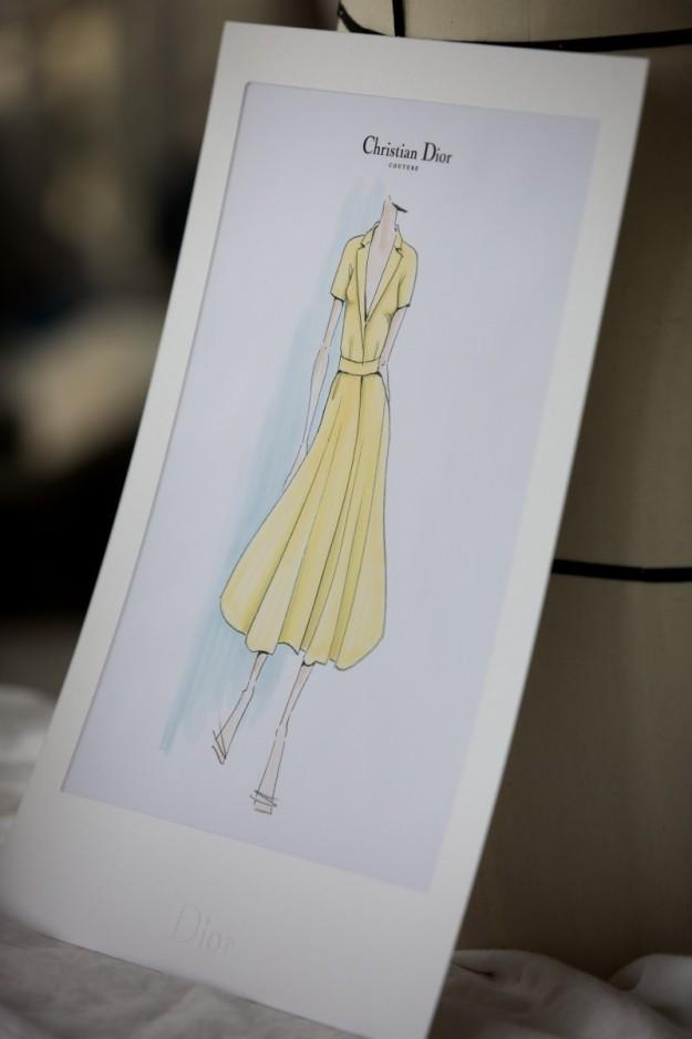 El boceto del vestido de Dior que Kirsten Dunst lució en Cannes.