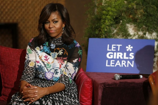 La primera dama Michelle Obama durante su intervención 'Let Girls Learn' en Marruecos.