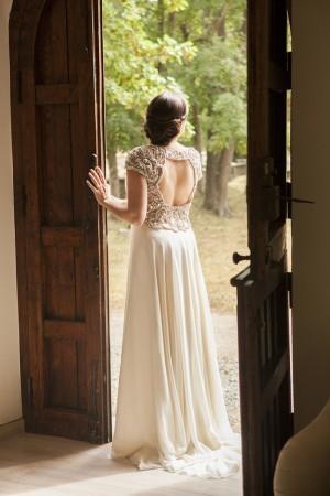 Leire optó por un vestido de Jenny Packham que había fichado en la revista TELVA Novias.