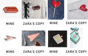 La imagen publicada por la ilustradora en la que compara sus diseños con los de Zara.