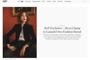 Con una exclusiva en la revista digital Business of Fashion, Alexa Chung anunciaba sus planes de crear una marca. Mayo de 2017 ya está marcado en rojo en nuestro calendario.