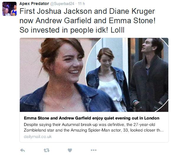 Emma Stone y Andrew Garfield paseando por Londres.
