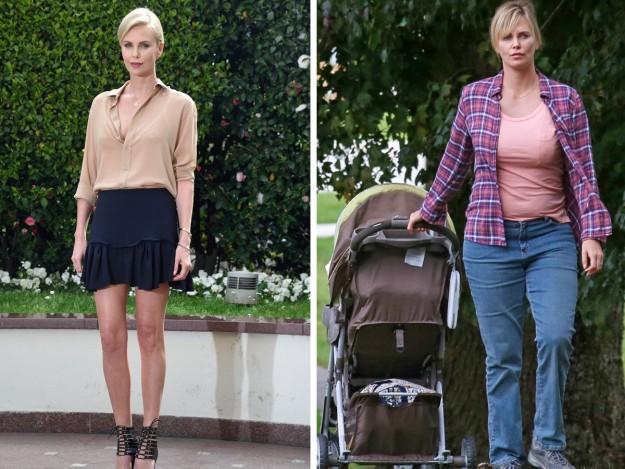 Charlize Theron a la izquierda en marzo de 2016 y a la derecha una imagen de la actriz actual en el rodaje de