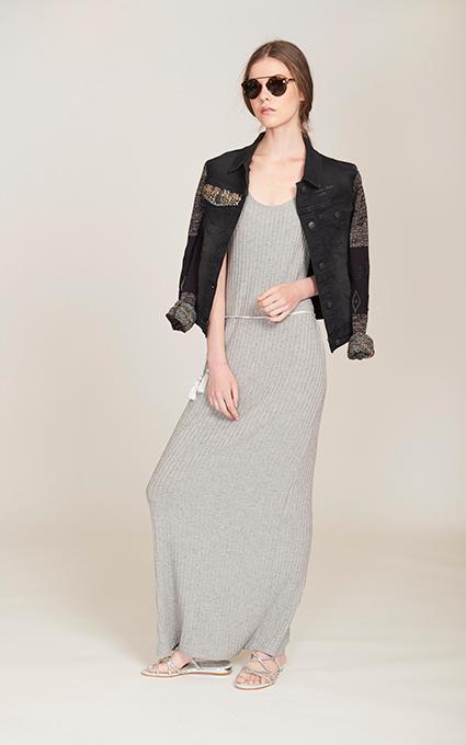 Outfit canalé gris