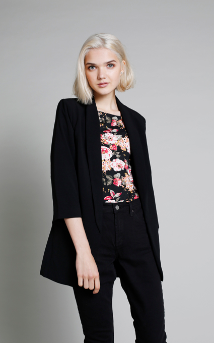 Black and flowers