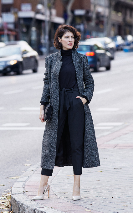 Abrigo tweed largo