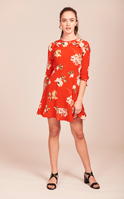 Vestido flower red