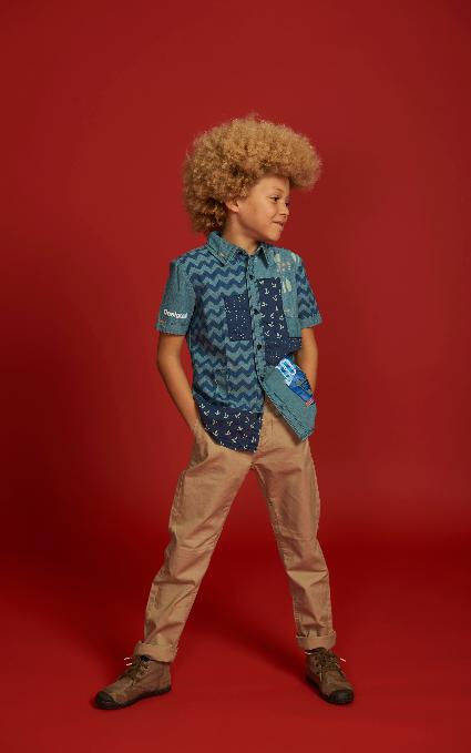 Camisa patchwork blue