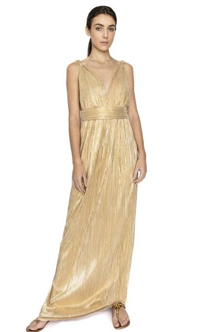 Vestido plisado dorado