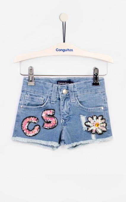 Shorts parches denim