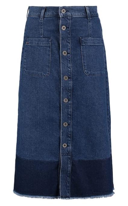 Falda abotonada larga