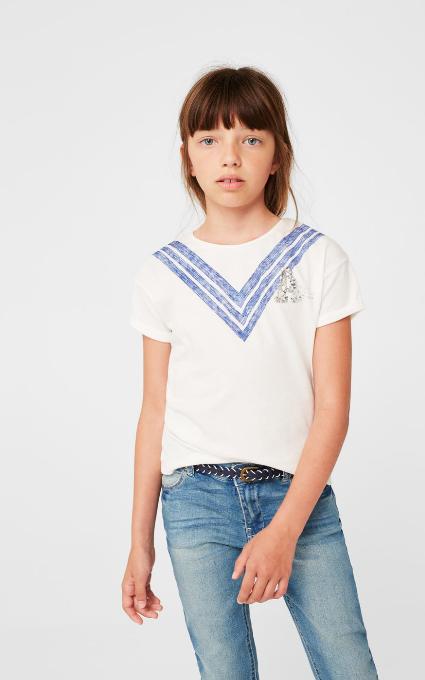 Camiseta lentejuelas bordadas